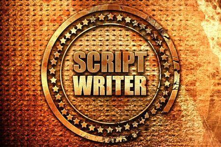 script writer, 3D rendering, grunge metal stamp