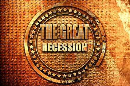 Recession sign background, 3D rendering, grunge metal stamp Stock Photo