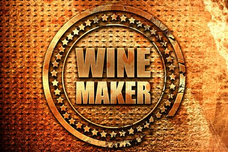 wine maker, 3D rendering, grunge metal stamp
