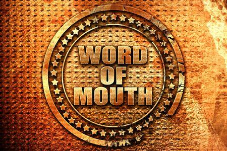 word of mouth, 3D rendering, grunge metal stamp