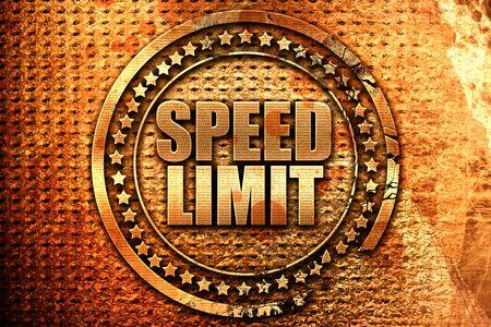 speed limit, 3D rendering, grunge metal stamp Stock Photo