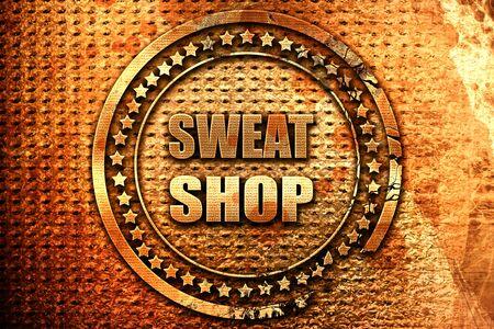 Sweat shop background, 3D rendering, grunge metal stamp