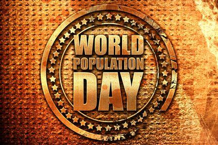 world population day, 3D rendering, grunge metal stamp