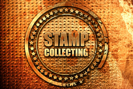 stamp collecting, 3D rendering, grunge metal stamp Stock Photo