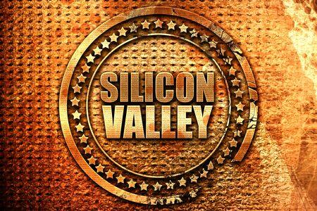 silicio: silicon valley, 3D rendering, grunge metal stamp