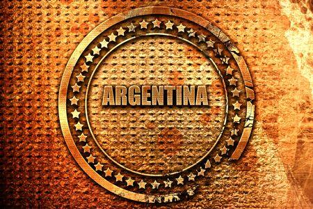 Argentina, 3D rendering, grunge metal stamp