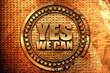 yes we can, 3D rendering, grunge metal stamp Stock Photo