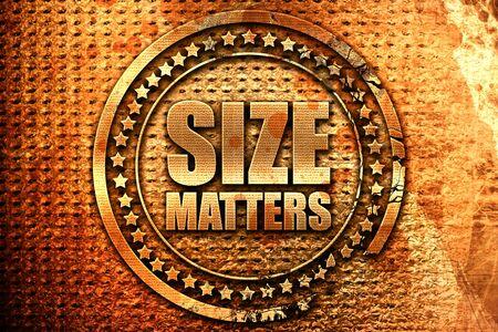 favoring: size matters, 3D rendering, grunge metal stamp