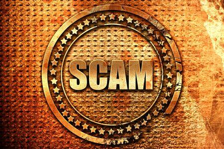scam, 3D rendering, grunge metal stamp