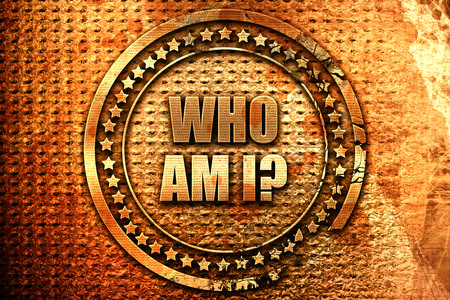 who am i?, 3D rendering, grunge metal stamp Stock Photo
