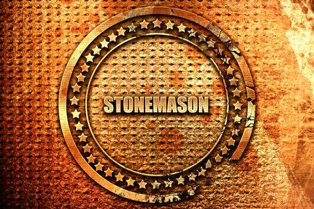 stonemason: stonemason, 3D rendering, grunge metal stamp