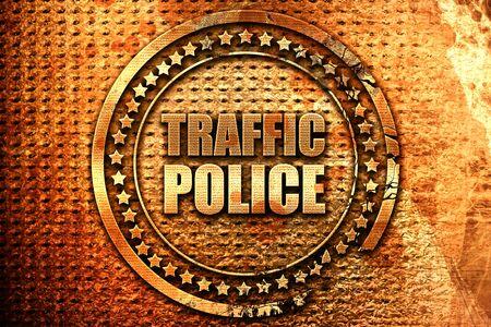 交通警察、3 D レンダリング、グランジ金属スタンプ