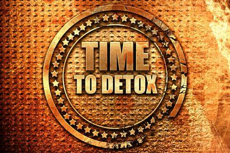 time to detox, 3D rendering, grunge metal stamp