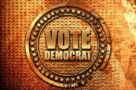 vote democrat, 3D rendering, grunge metal stamp