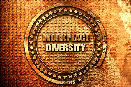 workplace diversity, 3D rendering, grunge metal stamp Stock Photo
