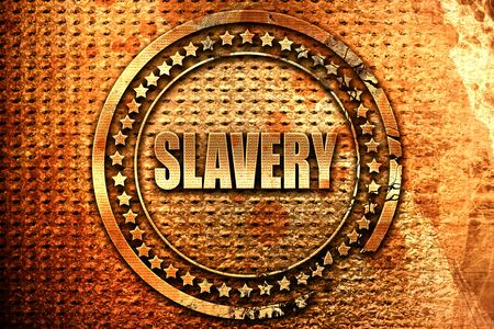 trapped: Slavery sign background, 3D rendering, grunge metal stamp
