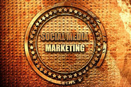 social meda marketing, 3D rendering, grunge metal stamp