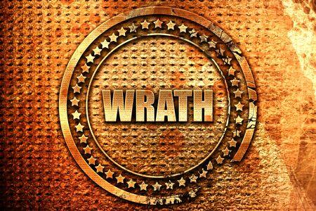 wrath: wrath, 3D rendering, grunge metal stamp