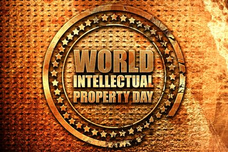 world intellectual property day, 3D rendering, grunge metal stam