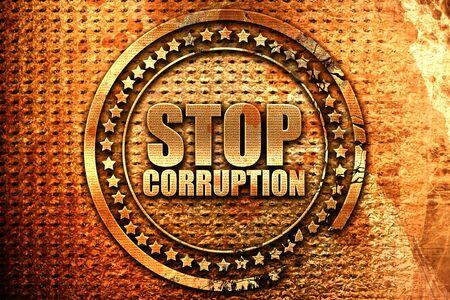 stop corruption, 3D rendering, grunge metal stamp Stock Photo
