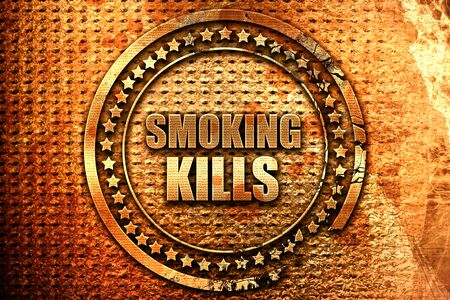smoking kills, 3D rendering, grunge metal stamp