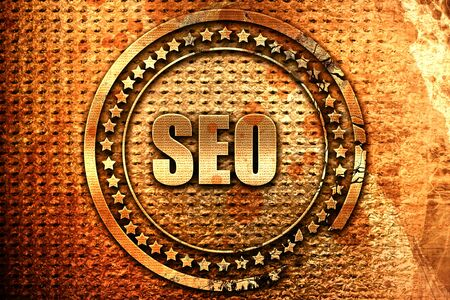 Search engine optimalization, 3D rendering, grunge metal stamp Stock Photo