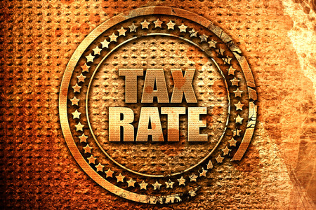 rate of return: tax rate, 3D rendering, grunge metal stamp Stock Photo