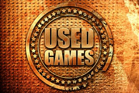 users video: used games, 3D rendering, grunge metal stamp