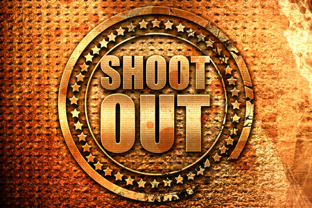 shoot out, 3D rendering, grunge metal stamp Stock Photo