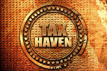 tax haven, 3D rendering, grunge metal stamp