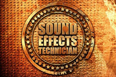 sound effects technician, 3D rendering, grunge metal stamp