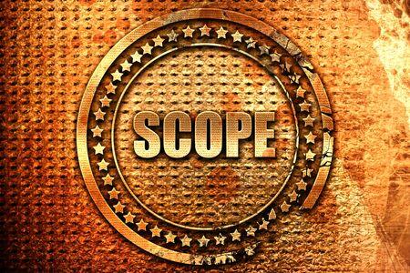 scope, 3D rendering, grunge metal stamp Stock Photo