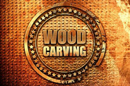 wood carving, 3D rendering, grunge metal stamp