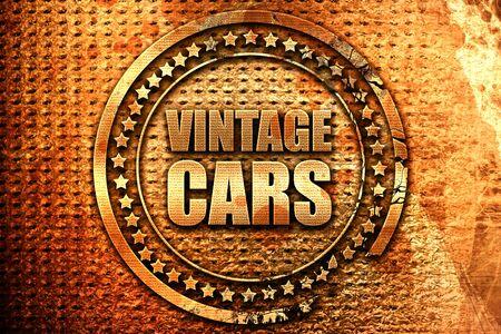 vintage cars, 3D rendering, grunge metal stamp