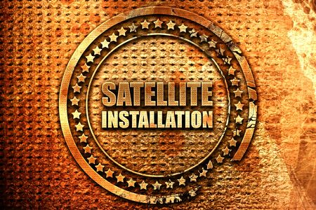 communications tools: satellite installation, 3D rendering, grunge metal stamp