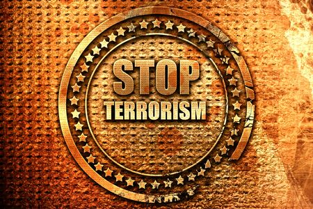 stop terrorism, 3D rendering, grunge metal stamp Stock Photo