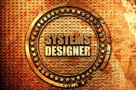 users video: systems designer, 3D rendering, grunge metal stamp