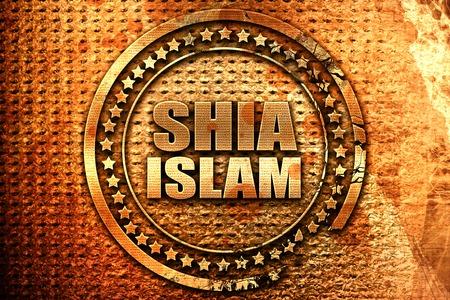 sunni: shia islam, 3D rendering, grunge metal stamp