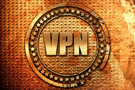 vpn, 3D rendering, grunge metal stamp
