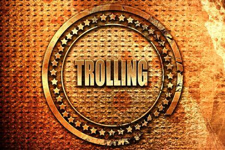 provoking: Trolling internet background, 3D rendering, grunge metal stamp