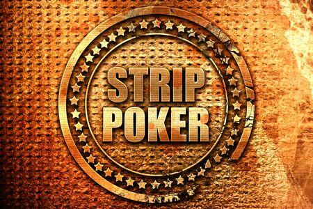 strip club: strip poker, 3D rendering, grunge metal stamp
