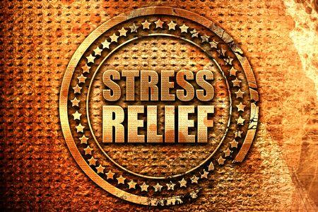 stress relief: stress relief, 3D rendering, grunge metal stamp