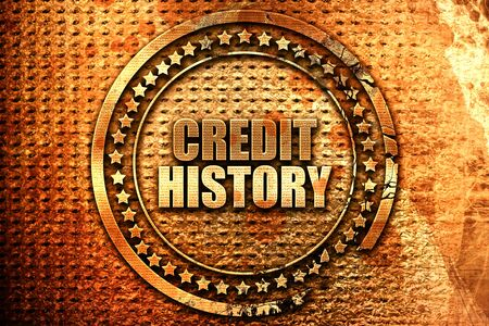 credit history, 3D rendering, grunge metal stamp