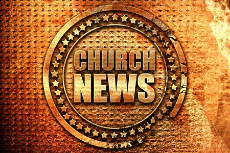 rostrum: church news, 3D rendering, grunge metal text