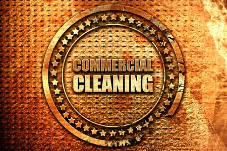 commercial cleaning, 3D rendering, grunge metal text