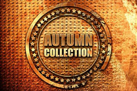 autumn collection, 3D rendering, grunge metal stamp