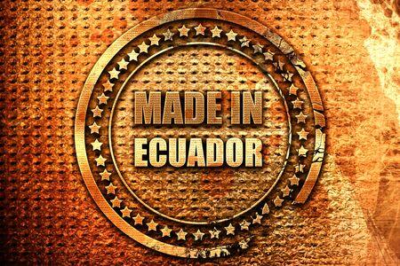 Made in ecuador, 3D rendering, grunge metal stamp