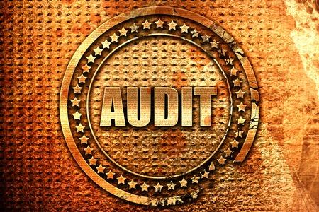 validation: audit, 3D rendering, grunge metal stamp