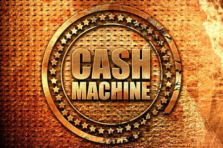cash machine, 3D rendering, grunge metal text