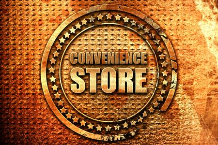 convenience store, 3D rendering, grunge metal text